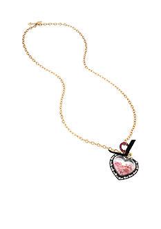 Betsey Johnson Gold-Tone Shaky Heart Pendant Necklace