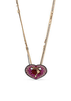 Betsey Johnson Gold-Tone Crystal Heart Pendant Long Necklace