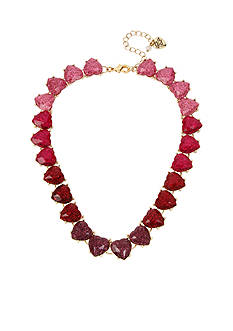Betsey Johnson Gold-Tone Ombre Glitter Heart Collar Necklace