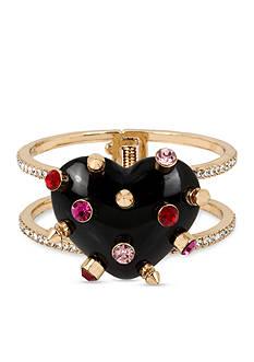 Betsey Johnson Gold-Tone Studded Heart Crystal Hinged Bangle Bracelet