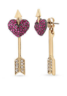 Betsey Johnson Gold-Tone Heart Front and Back Earrings