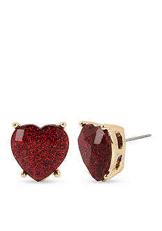 Betsey Johnson Gold-Tone Glitter Heart Stone Stud Earrings
