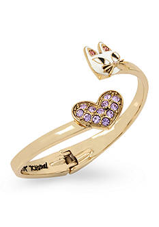 Betsey Johnson Gold-Tone Cat & Crystal Heart Bypass Hinged Bangle Bracelet