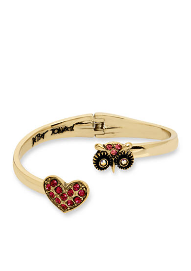 Betsey Johnson Gold-Tone Owl and Crystal Heart Bypass Hinged Bangle Bracelet