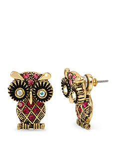 Betsey Johnson Gold-Tone Owl Ear Jacket Earrings
