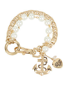 Betsey Johnson Gold-Tone Pearl Anchor Charm Bracelet