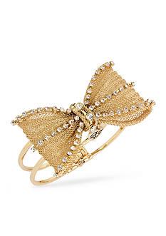 Betsey Johnson Gold-Tone Crystal Bow Hinged Bangle Bracelet
