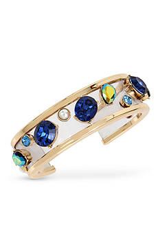 Betsey Johnson Gold-Tone Mixed Multi-Colored Stone Cuff Bracelet