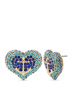 Betsey Johnson Gold-Tone Anchor Pave Heart Stud Earrings