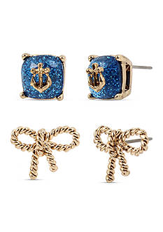 Betsey Johnson Gold-Tone Nautical Blue Anchor & Sailor Knot Stud Earring Set