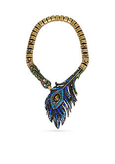 Betsey Johnson Gold-Tone Peacock Statement Collar Necklace