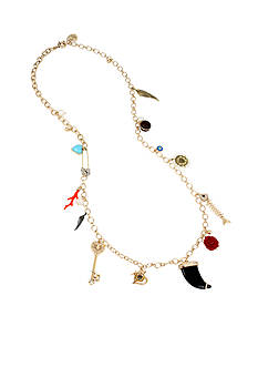 Betsey Johnson Gold-Tone Mixed Multi Charm Long Necklace