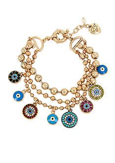 Betsey Johnson Gold-Tone Mixed Eye Charm Multi Row Bracelet