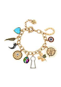 Betsey Johnson Gold-Tone Mixed Multi Charm Bracelet