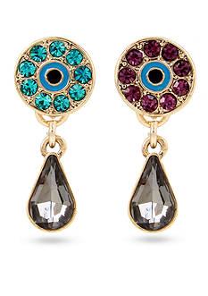 Betsey Johnson Gold-Tone Eye & Stone Mismatch Teardrop Earrings