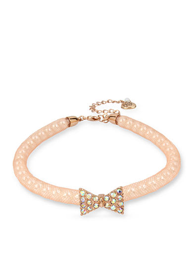 Betsey Johnson Rose Gold-Tone Pave Bow & Pearl Pink Mesh Choker Necklace