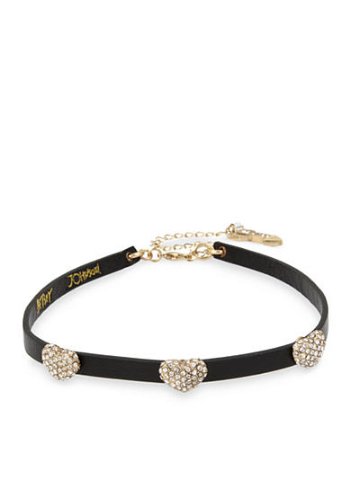 Betsey Johnson Gold-Tone Pave Heart Black Leather Choker Necklace