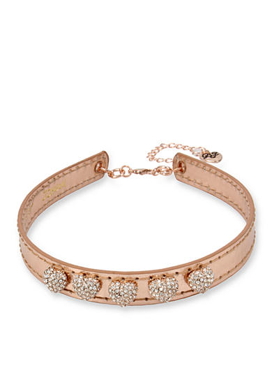 Betsey Johnson Rose Gold-Tone Pave Heart Metallic Rose Gold Leather Choker Necklace