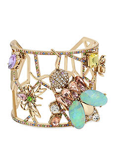 Betsey Johnson Gold-Tone Pave Insect Geometric Cut-Out Cuff Bracelet