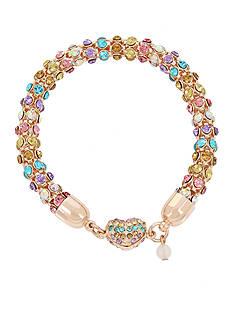 Betsey Johnson Rose Gold-Tone Multi-Colored Stone Mesh Bracelet