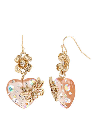 Betsey Johnson Gold-Tone Flower and Heart Double Drop Earrings