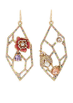 Betsey Johnson Gold-Tone Flower and Insect Pave Geometric Cut-Out Drop Earrings