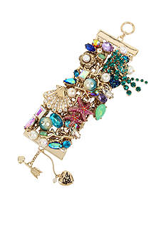 Betsey Johnson Gold-Tone Sea Shell and Starfish Shaky Mixed Charm Wide Toggle Bracelet