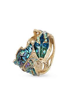 Betsey Johnson Gold-Tone Abalone Fish Hinged Bangle Bracelet