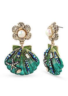 Betsey Johnson Gold-Tone Sea Shell Drop Earrings