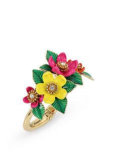 Betsey Johnson Gold-Tone Tropical Flower Hinged Bangle Bracelet