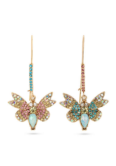 Betsey Johnson Gold-Tone Crystal Butterfly Mismatch Earrings