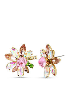 Betsey Johnson Gold-Tone Mixed Stone Flower Stud Earrings