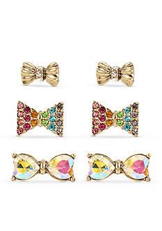 Betsey Johnson Gold-Tone Crystal Rainbow Bow Stud Earring Set