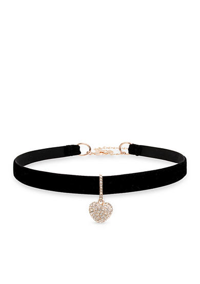 Betsey Johnson Rose Gold-Tone Pave Heart Charm Black Choker Necklace