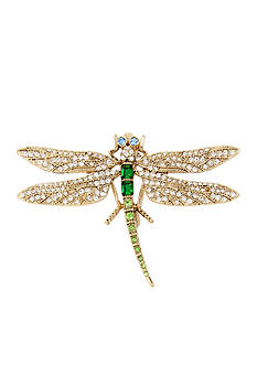Betsey Johnson Gold-Tone Pave Dragonfly Pin