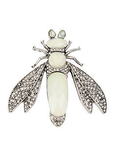 Betsey Johnson Silver-tone Pave Fly Pin