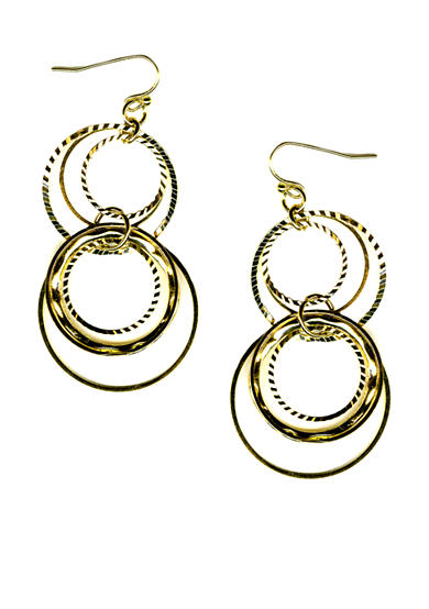 New Directions® Gold-Tone Multi Ring Earrings