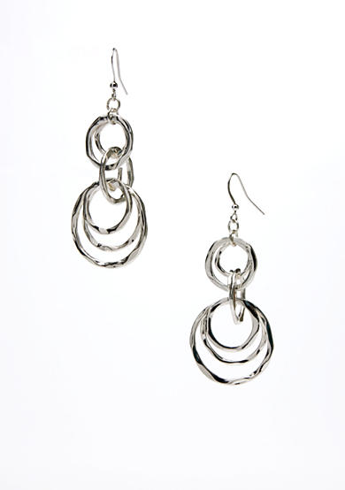 New Directions® Silver-Tone Hammered Multiple Circle Drop Earring