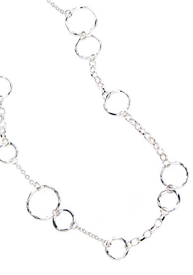 New Directions® Silver-Tone Hammered Link Station Necklace