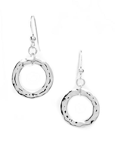 New Directions® Silver-Tone Hammered Single Hoop Drop Earring