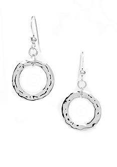 New Directions Silver-Tone Hammered Single Hoop Drop Earring