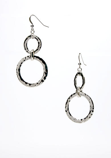 New Directions® Silver-Tone Hammered Double Link Drop Earring