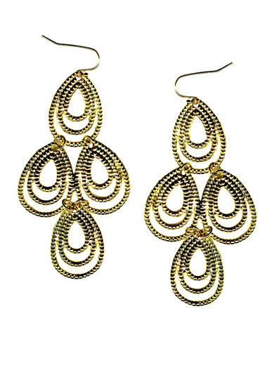 New Directions® Gold-Tone Textured Chandelier Earrings