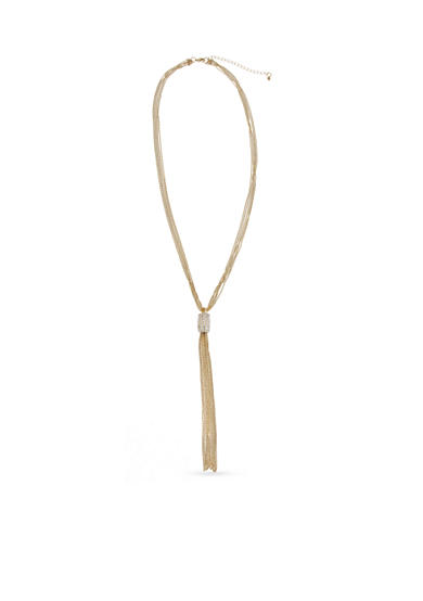 New Directions® Gold-Tone and Crystal Long Tassel Necklace