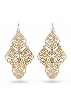 New Directions Gold-Tone Fiigree Chandelier Drop Earrings