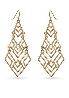 New Directions Gold-Tone Geo Chandelier Earrings