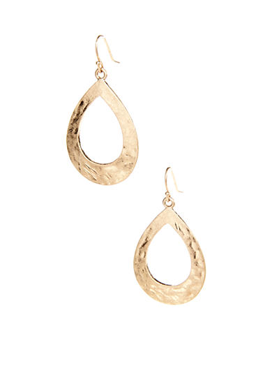 New Directions® Hammered Open Tear Hoop Earring