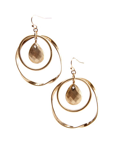 New Directions® Double Hoop with Bead Drop Earrings