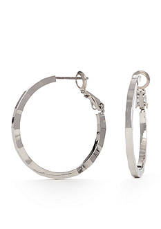 New Directions® Silver-Tone High Shine Medium Hoop Earrings