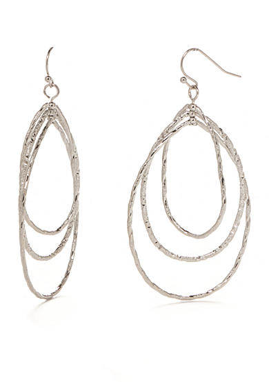 New Directions® Silver-Tone Oval Drop Earrings